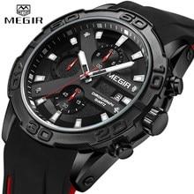 MEGIR Männer Uhren Analog Quarz Armbanduhr Wasserdichte Sport Chronograph Silikon Militär Uhr Männer Auto Datum Relogio Masculino