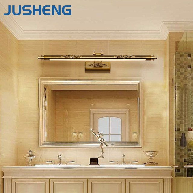 Online Shop JUSHENG Classic Antique Brass LED Wall Lamps in Bathroom ...