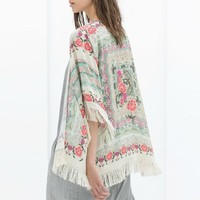 New Fashion Women Kimono Cardigan Vintage Flower Printed Tassel Blouses Femininas Blusas Ladies Long Sleeve Tops