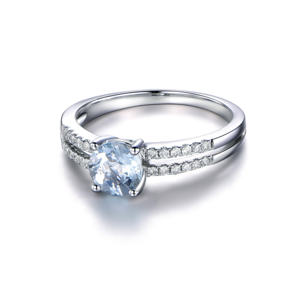 Myray Natural Round Cut 6mm Blue Aquamarine Genuine Gemstone Engagement Ring  Women 14k White Gold Rings