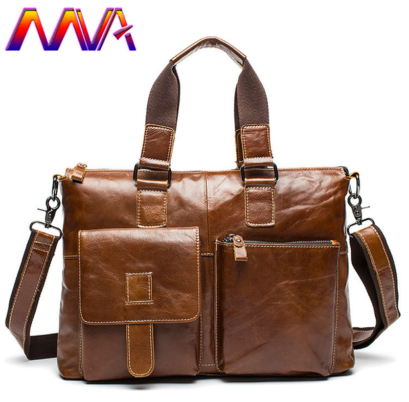 MVA Cheap price cow leather men briefcase with 100% genuine leather men crossbody bag and men handbag men leather briefcase