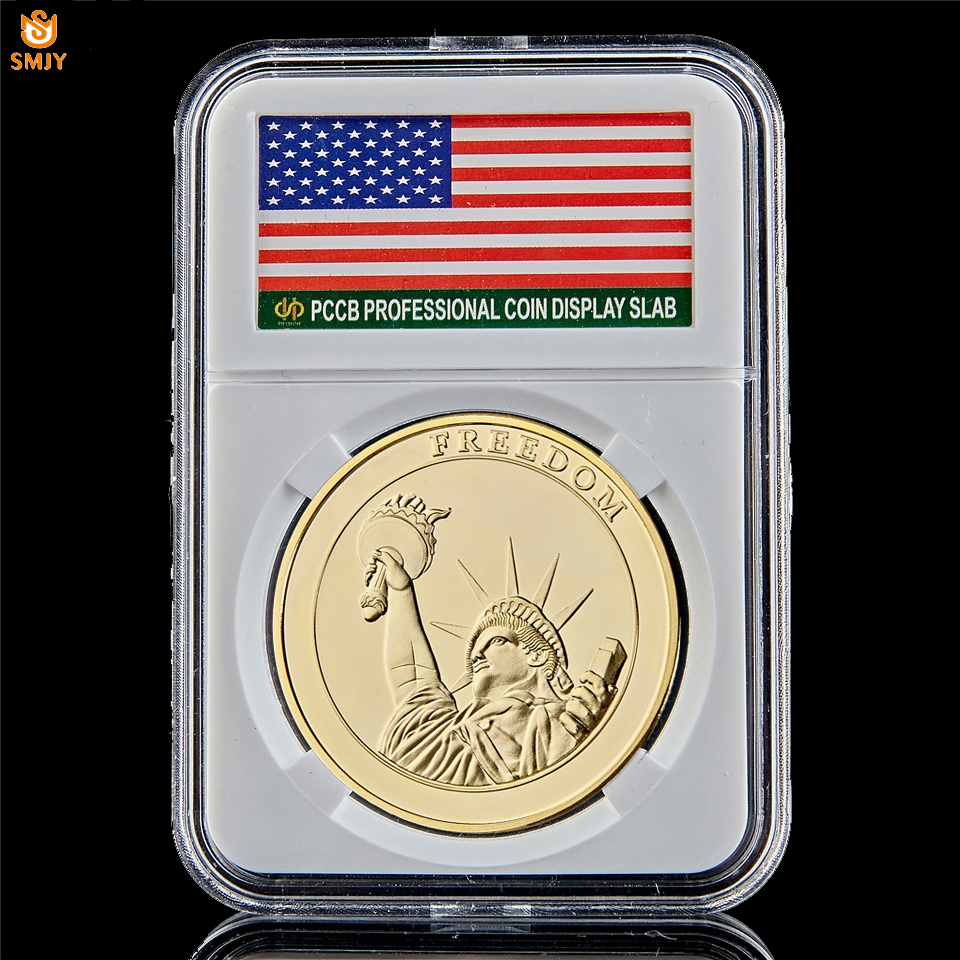 American Statue of Liberty USA World Trade Center Gold Souvenir Coin Value Collection W/PCCB Holder image
