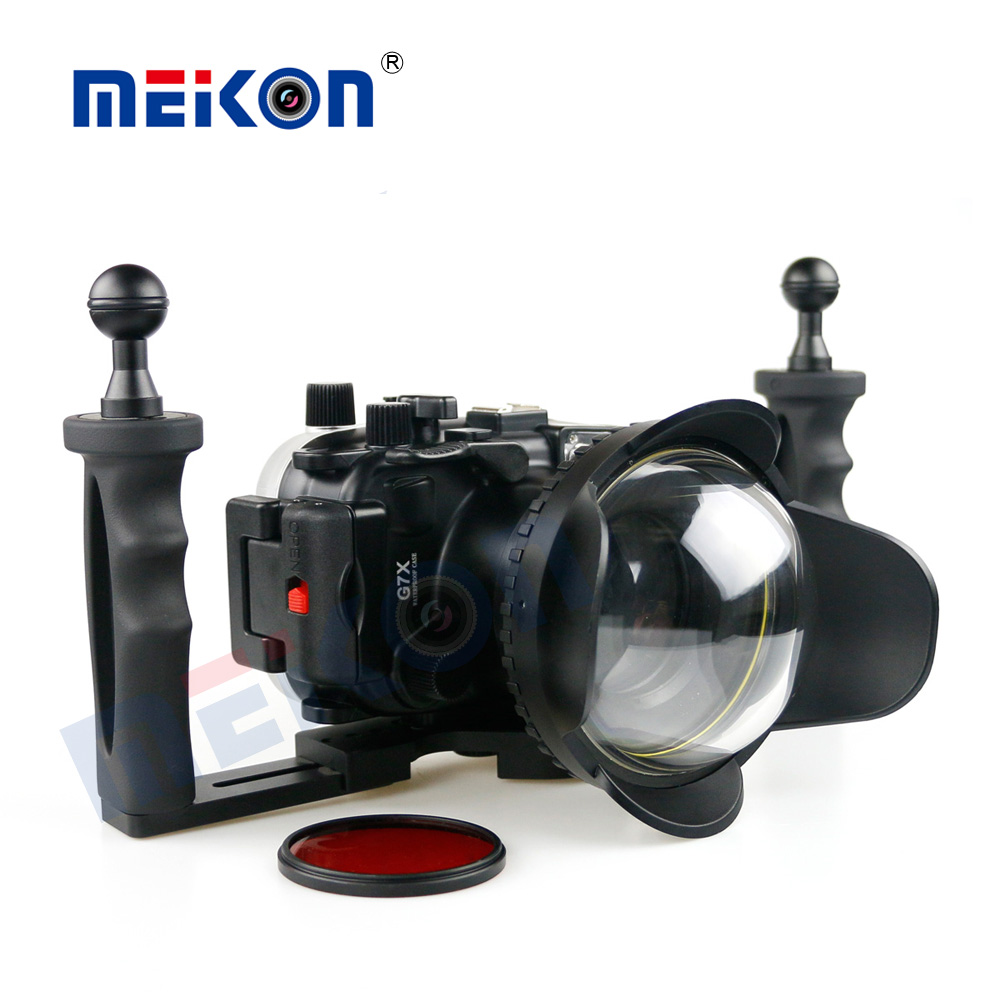 Meikon 40M/130FT Underwater Camera Waterproof housing case for canon G7X + 67mm Round Dome Port Fisheye + Two Hands Housing Tray meikon 40m wp dc44 waterproof underwater housing case 40m 130ft for canon g1x camera 18 as wp dc44