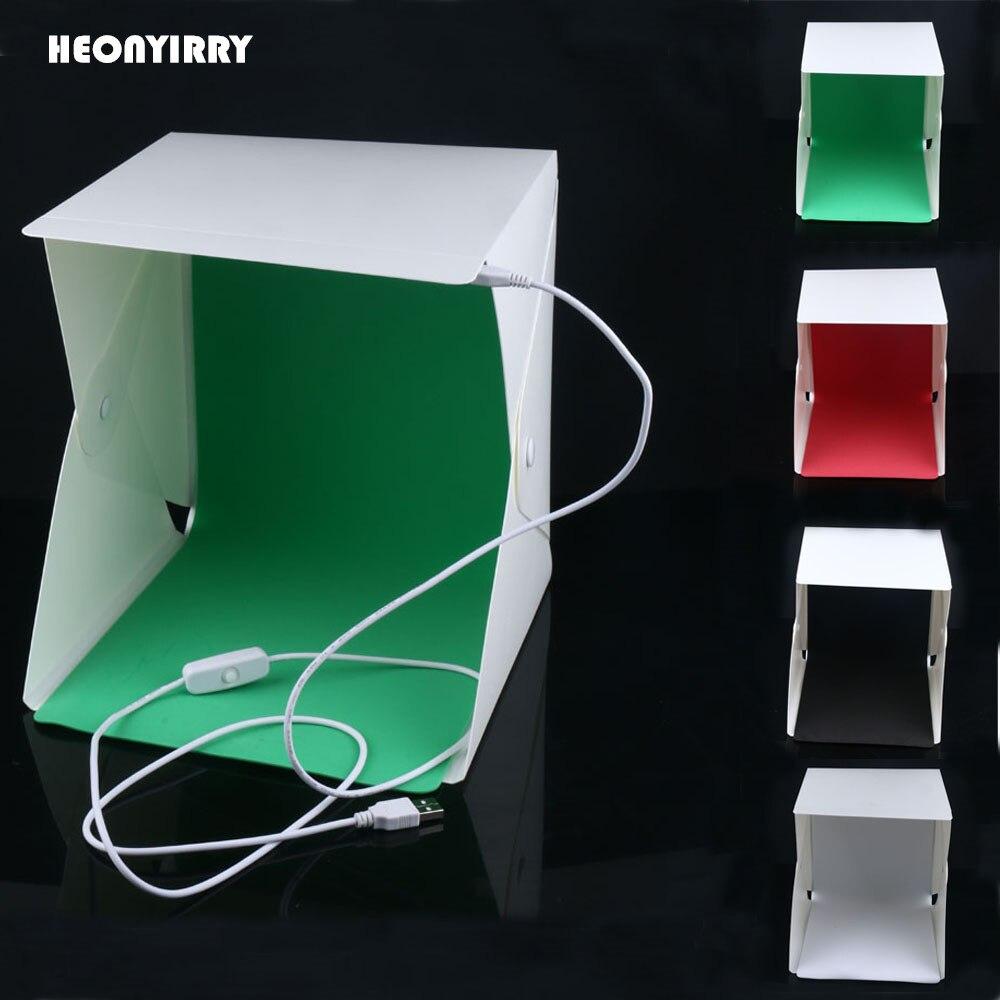 2017 NEUE Mini Folding Studio Diffuse Softbox Mit LED-Licht Schwarz Weiß Grün Rot Hintergrund Fotostudio Zubehör Leuchtkasten