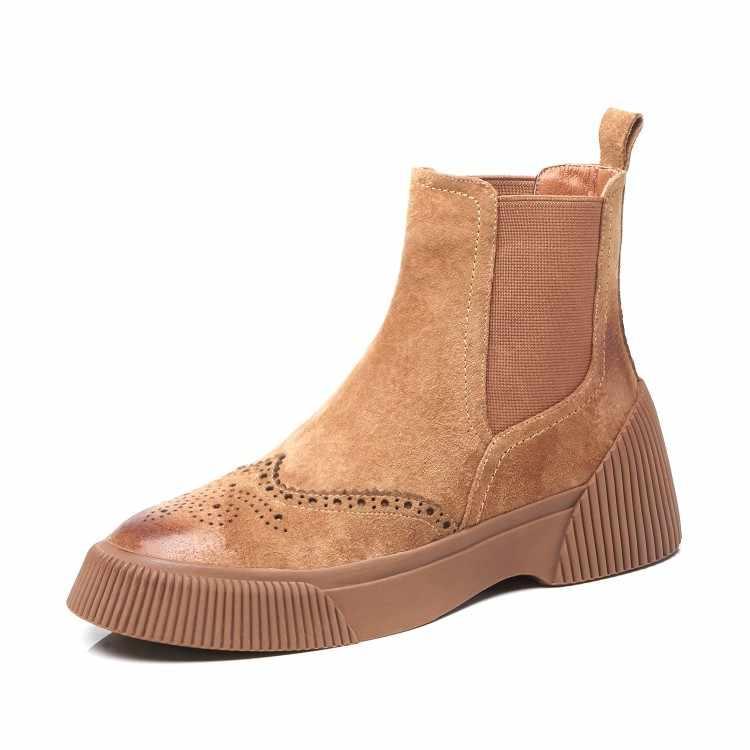 MLJUESE/2019; женские ботильоны из свиной кожи; зимние короткие плюшевые ботинки с перфорацией; цвет коричневый; ботинки с перфорацией типа «броги»; женские ботинки «Челси»