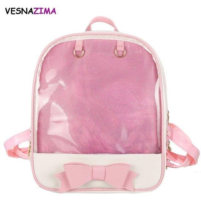 6a65839e3 Vesnazima marca del color del caramelo del verano transparente del PVC  mochila arco flor cremallera mujeres