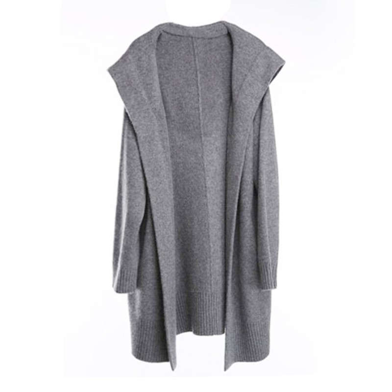 BELIARST 18 Autumn and Winter New Pure Cashmere Sweater Loose Thick Sweater Coat Women In the Long Coat Hooded Knitted Cardigan