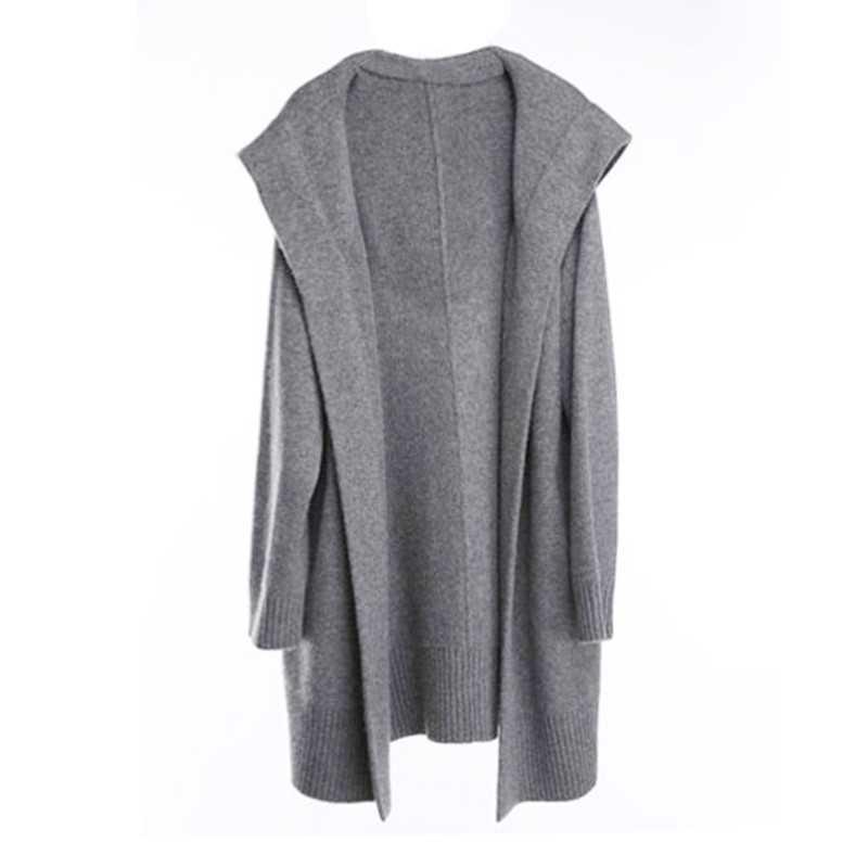 BELIARST 18 осень и зима новый чистый кашемировый свитер свободный толстый свитер пальто женское длинное пальто с капюшоном вязаный кардиган
