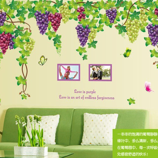 New Design Extra Large 2pcs/set(A/B) Fruit Grape Wall Sticker Romantic Tv/bedroom/living room Art Wall Decal Kids Room Decor-in Wall Stickers from Home ...  sc 1 st  AliExpress.com & New Design Extra Large 2pcs/set(A/B) Fruit Grape Wall Sticker ...