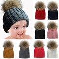 Sombreros Calientes del bebé Niños Niñas Bobble Pom Beanie de Punto Grueso Para Niños Pompón de piel Sombrero Niños Pompón de piel de Mapache Verdadero Invierno Sombrero Capó