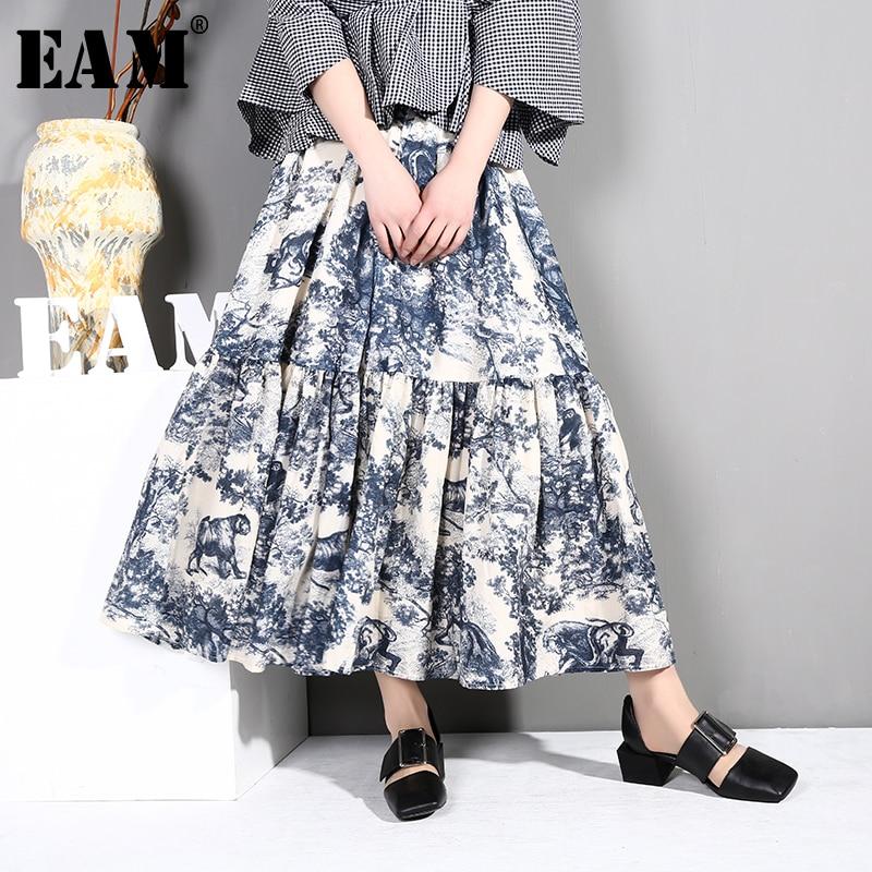 [EAM] 2020 New Spring Summer High Elastic Waist Blue Pattern Printed Big Hemline Half-body Skirt Women Fashion Tide BF039
