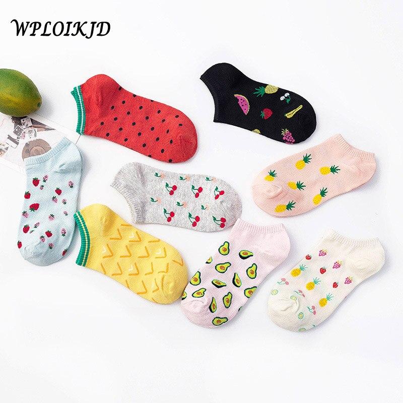 Summer Creative Fruit Harajuku Ankle Socks Women Candy Color Pineapple Strawberry Shallow Funny Socks Skarpetki Hipster Sokken