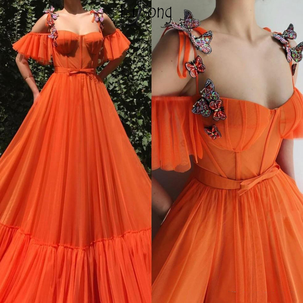 2019 Orange Spaghetti Straps Tulle A Line Long   Prom     Dresses   3D Floral Lace Butterfly Floor Length Formal Party Evening   Dress
