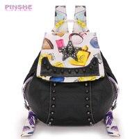 PINSHE Fashion Rivet Printing Diamond Star Backpack Leather Shoulder Bag Hit Color School Bags Women Backpacks