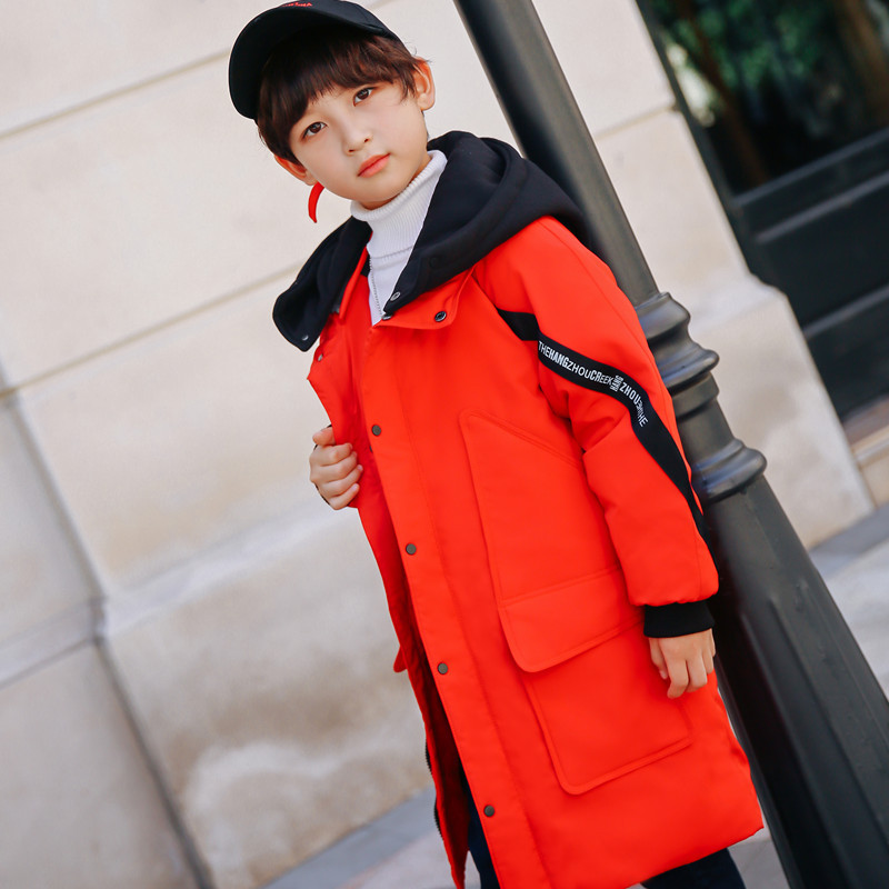2018 boys new fashion down jacket Boy lengthened hooded casual down jacket Boy thick warm letter decorative coat Hooded jacket цена