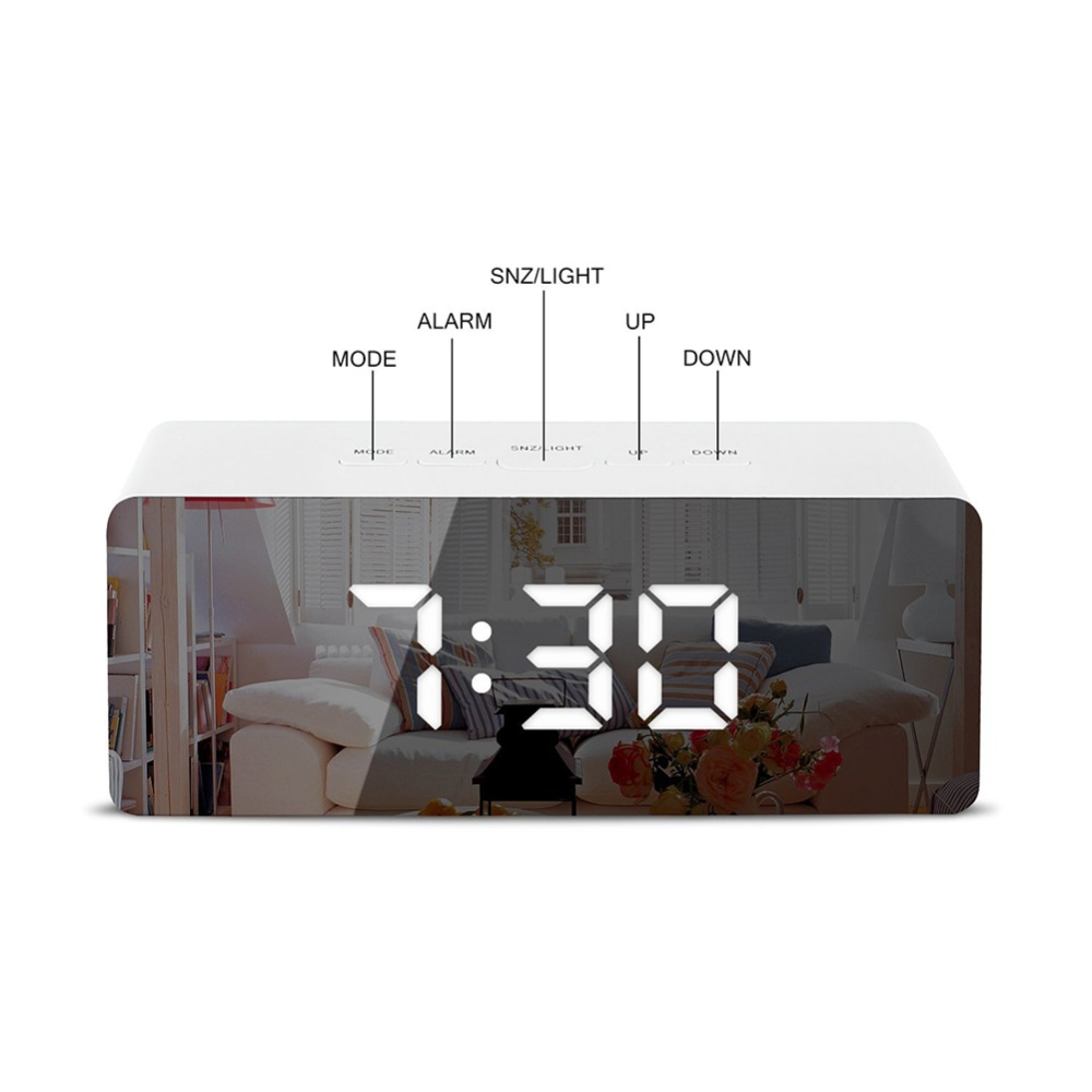 LED Mirror Alarm Clock Digital Snooze Table Clock Wake Up Light Electronic Large Time Temperature Display Home Decoration Clock 2
