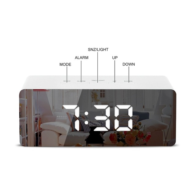 LED Mirror Alarm Clock Digital Snooze Table Clock Wake Up Light Electronic Large Time Temperature Display Home Decoration Clock 4
