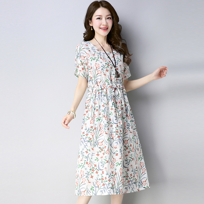0295 Summer Dress Ladies Floral Casual Loose Tunic Waist O neck Short Sleeve Dresses Woman Cotton And Linen A line Dress Women in Dresses from Women 39 s Clothing