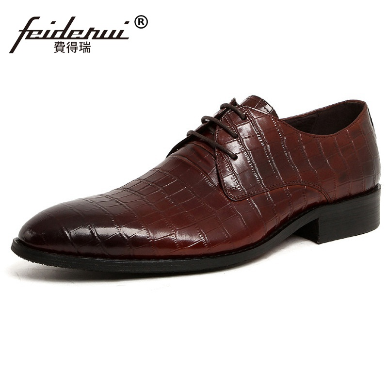 Italian Designer Pointed Toe Man Formal Wedding Dress Shoes Luxury Genuine Leather Male Business Oxfords Men's Bridal Flats CE86 italian round toe crocodile man casual shoes genuine leather male bridal loafers luxury brand designer men s wedding flats qc96
