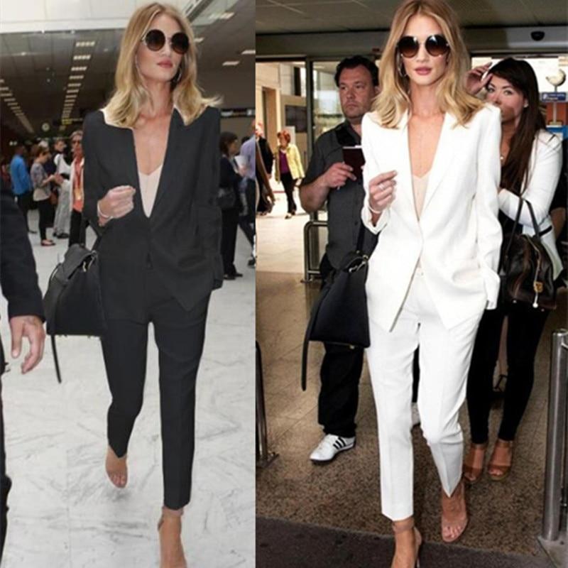 1 Costume Section Européen Mince Nouvelle 2 Et Blanc Occasionnel Britannique Mode Pantalon Petit Femelle De Style Neuf Américain waIxqzxAd