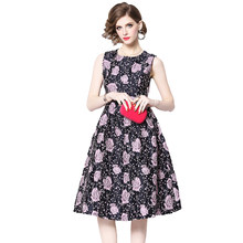 Floral Print Vintage Ball Gown Dress Women 2019 Spring Summer vestidos robe  femme Casual Embroider Red Black Dresses Sleeveless 91f7688c5e57