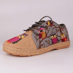 Image 4 - Veowalk винтажные женские туфли из тайского хлопка и льна с вышивкой Совы тканевые туфли на плоской подошве с круглым носком на шнуровке