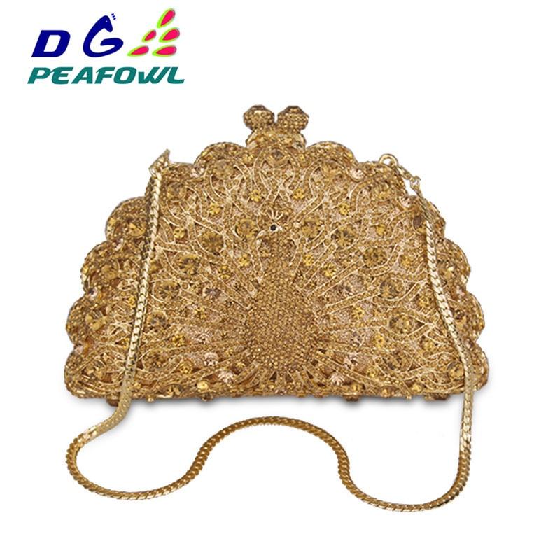 DG PEAFOWL Gold Luxury Peacock Crystal Evening Bags Animal Clutch Designer Women Clutches Bridal Wedding Purses Party Handbags
