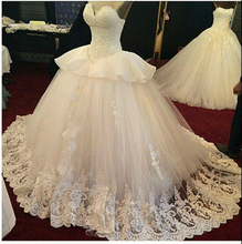 New 2015 Ball Gown Princess Wedding Dresses Handmade Lace Bridal Real Image W2406 Stunning Vestido de Noiva Appliques Romantic