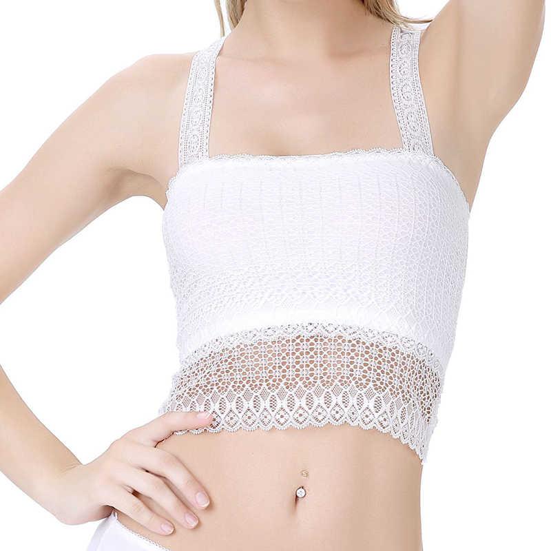 a2d55fbcbc8a5 ... Summer Women Tops Bralette Bralet Bra Lace Vest beach backless Halter  Crochet Unpadded Bustier Crop Top ...
