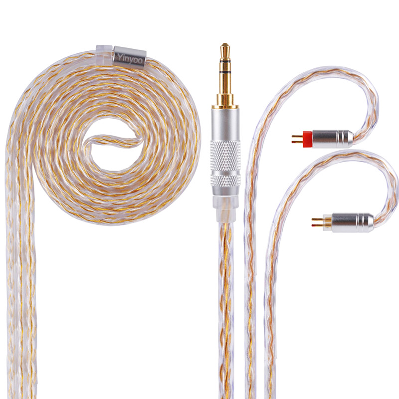 New Yinyoo Gold Silver Plated Cable 2.5/3.5/4.4mm Balanced Cable With MMCX/2pin Connector For LZ A5 Sony HQ6 QT2 KZ ZS10 ZSR ZSA wooeasy upgrade tin plated copper silver cable 2 5 3 5 4 4 balanced cable with mmcx 2pin jack for kz zs6 zs5 zst zs10 lz a5