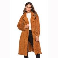 2018 Winter Women's Hot Brown Wool Big Pocket Plush Coat