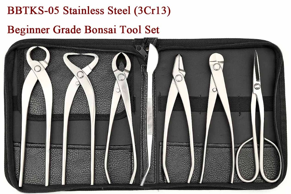 Beginner Grade 7 PCS Bonsai tool set (kit) BBTKS-05 From TianBonsai master s grade 7 pcs 8 inches bonsai tool set kit jttk 06b from tianbonsai