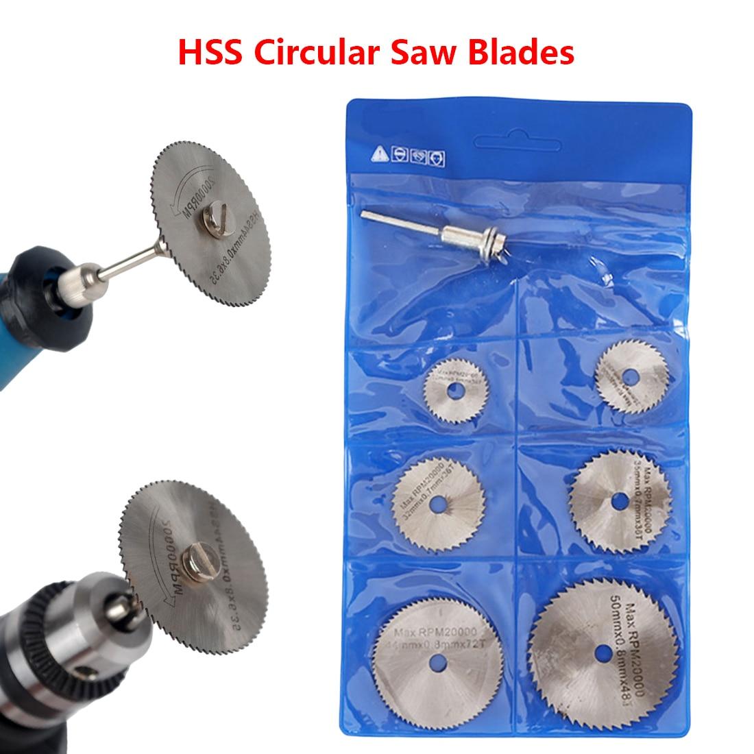 6Pcs Saw Blade +1pcs Mandrel HSS High-speed-steel Circular Rotary Blade Wheel Discs Mandrel For Dremel Tools Wood Cutting Saw