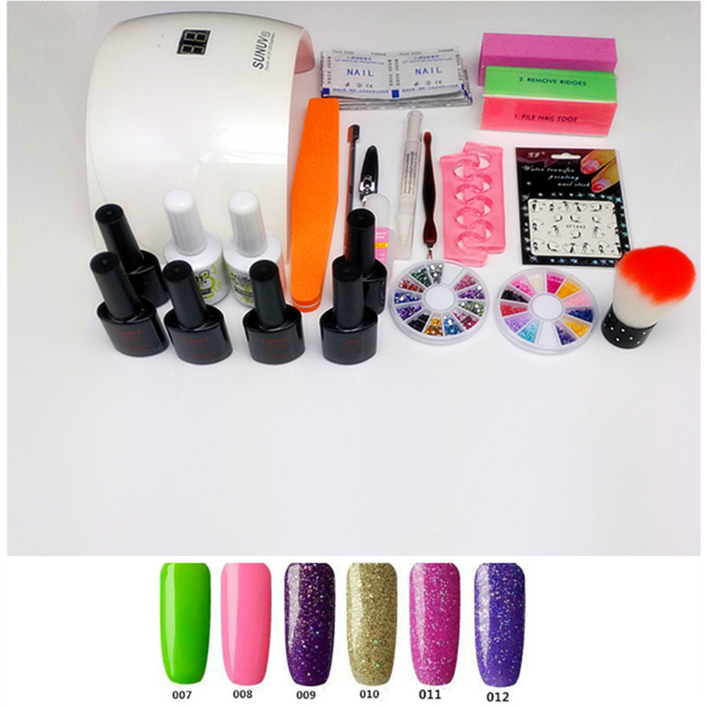SUN9S Nail Set Kit Nail Gel Manicure Set 24W UV LED Lamp
