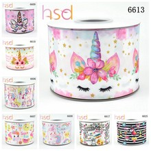 "HSDRibbon 3"" 75mm high-quality heat transfer printed unicorn series Grosgrain Ribbon(China)"