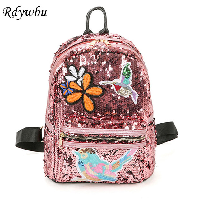 9ca0b04c25 Rdywbu Glitter Sequins Backpack Women s Embroidery Flower Birds Badge  Rucksack Girl s Bling PU Leather School Bag