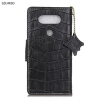 Hot Genuine Leather Crocodile Grain Magnetic Stand Flip Cover For LG Q8 V20 MINI Luxury Mobile