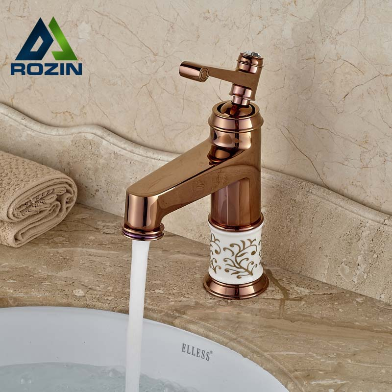 ФОТО Luxury Rose Golden Bathroom Mixer Faucet Single Handle Basin Vessel Sink Faucet with Hot Cold Water