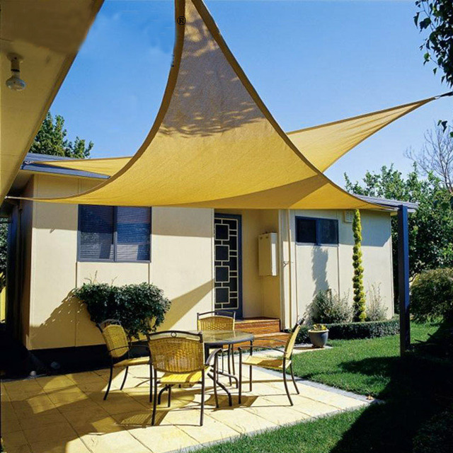 E Share Sun Protected Shade Sail 10x10x10ft Triangles Uv Waterproof Hdpe Awning Canopy Patio Garden Pool Cloth Outdoor