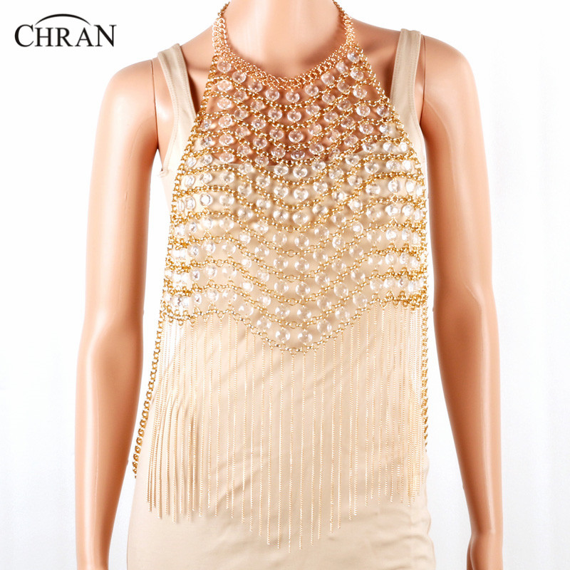 CHRAN Luxury Multilayer Chain Wedding Party Jewelry Stunning Gold Color Metal Tassel Style Sexy Women Body Necklace Chain Dress stylish solid color chain tassel alloy necklace for women
