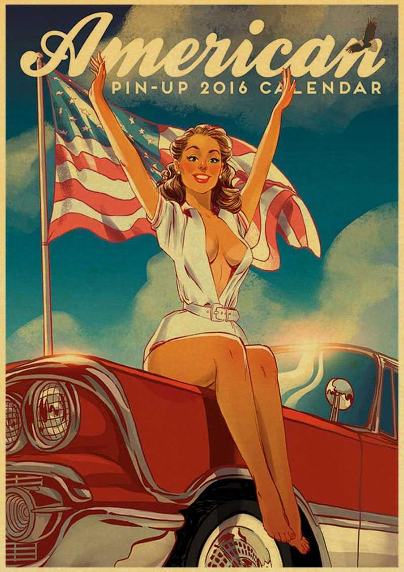 第二次世界大戦セクシーなピンナップガールポスター軍事バーカフェホーム壁の装飾レトロなクラフト紙の壁のポスター
