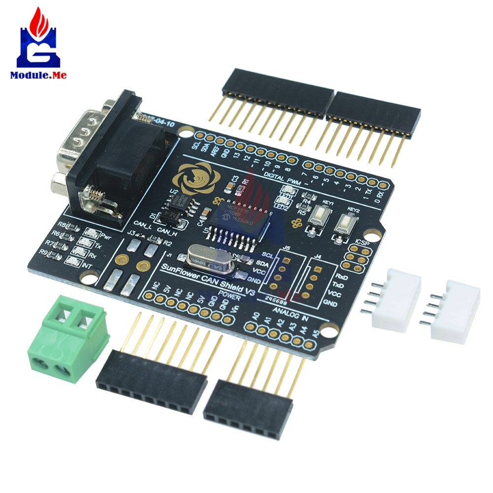 MCP2515 CAN Bus Shield Board Module SUB-D Connector Standard UART IIC SPI LED Indicator Controller CAN 4.8-5.2V for Arduino image