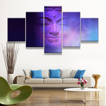 Blue Buddha Canvas Art Printed Modular Pictures 5 Panels Christmas Canvas Painting For Living Room Wall Decor Posters and prints