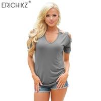 ERICHIKZ 2017 New Top Tee Women T Shirt Hollow Out Short Sleeve Tops Loose Tees Sexy