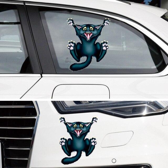 5e132aa6f3 Accessori auto Autoadesivo Auto Divertente Crazy Cat Finestra Pegatinas  decal per Ford Focus 2 3 Vw
