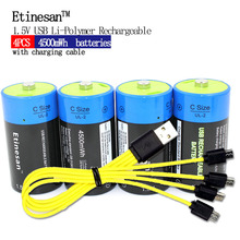 4 pcs Etinesan 1.5 V 3000 mAh Li-polymère Rechargeable Batterie C taille Batteries, Rechargeable C li-ion batterie + câble de recharge USB