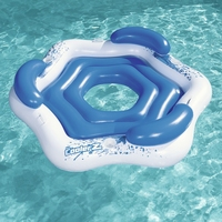 3 Person Round Inflatable Party Island Float Boat With 3 Cup Holders Swimming Pool Floats Water Ride on Toys Pool Fun Raft