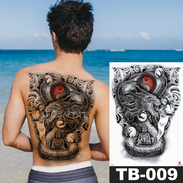 48 35 Cm Yin And Yang Large Tattoo Stickers Waterproof Temporary