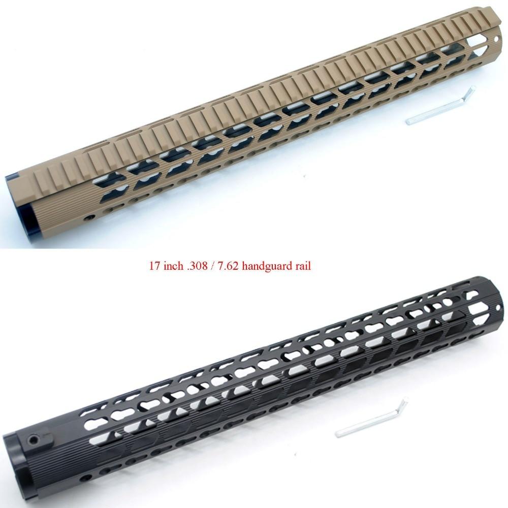 TriRock 17 pouces Extra Long AR-10/LR-308 Ultra-Léger Noir/Tan Keymod Free Float Handguard Rail Picatinny Montage système