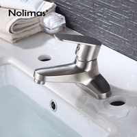 Stainless Steel Basin Faucet Nickel Brushed Single Handle Soild Basin Mixer Hot Cold Bathroom Toilet Water Tap Deck Mounted